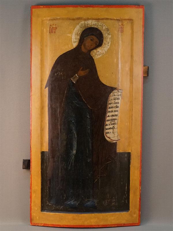 Икона «Богоматерь» издеисусного чина, дерево, левкас, темпера, 80,4×42см. Ростов, последняя треть XVIвека.