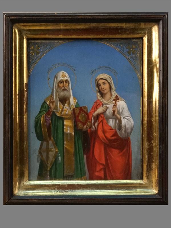Антиквариат. Икона Митрополит Петр и мученица Дарья
