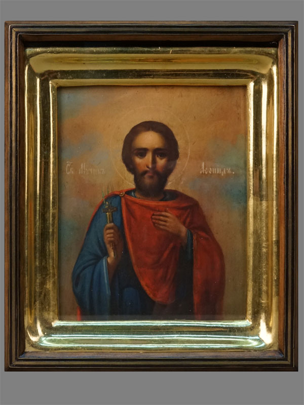 Антиквариат. Икона Святой Мученик Леонид