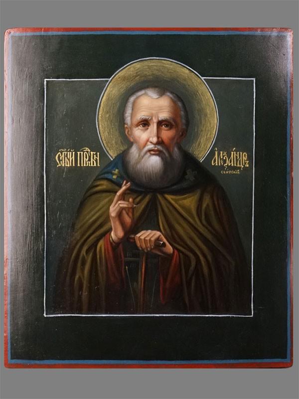Антиквариат. Икона Святой Преподобный Александр Свирский