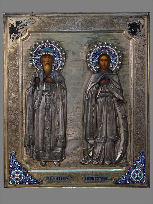 Антиквариат. Икона Святой Равноапостольный Князь Владимир и Святая Великомученица Екатерина