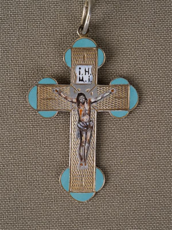 Антиквариат. Крест нательный, серебро 84 пробы, эмаль
