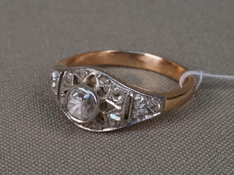 Антиквариат. Кольцо, золото 56 пробы, бриллиант