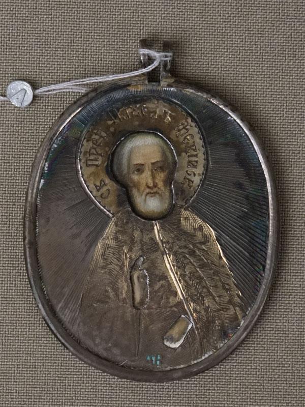 Антиквариат. Икона Святой Преподобный Павел Фивейский, серебро 84 пробы
