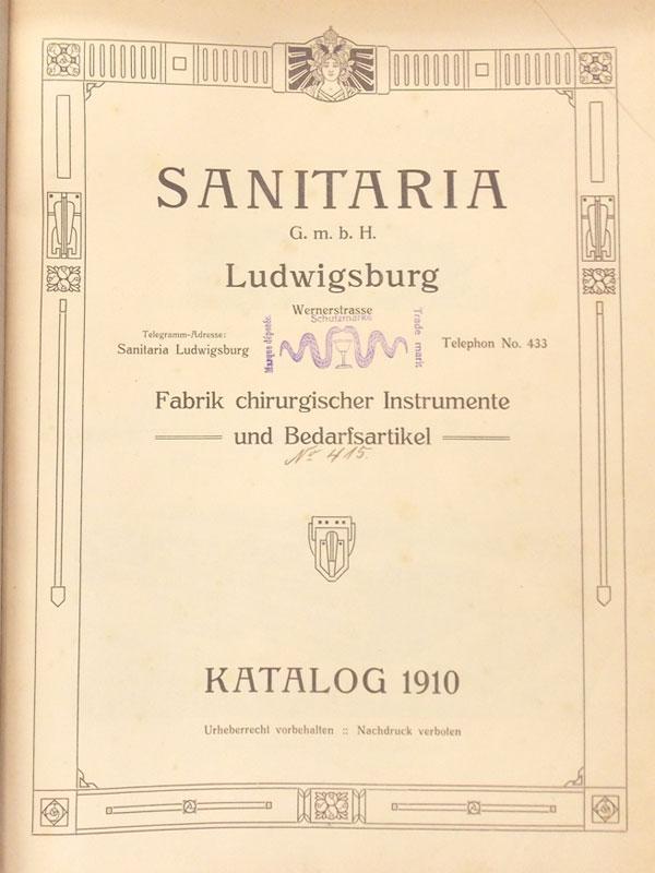 Каталог фабрики хирургических инструментов «Санитария». — Людвигсбург-Гамбург, 1910. — 582с., силл. <i>Издательский переплет. Увеличенный формат.</i>