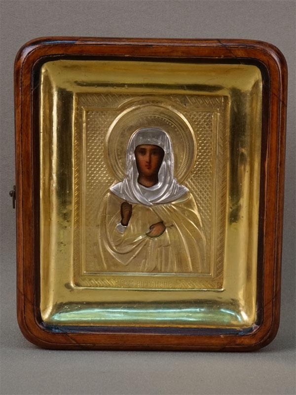 Икона «Святая Мученица Антонина», дерево, масло, оклад серебро 84пробы, золочение,  конец XIXвека, 11,5×9см; киот
