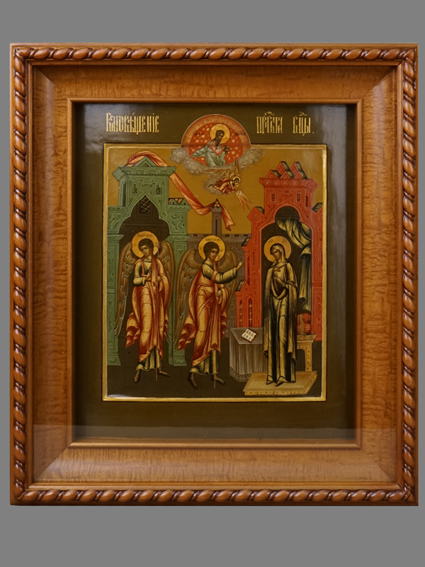 Икона «Благовещение», дерево, темпера, XIXвек, 31×27см; киот