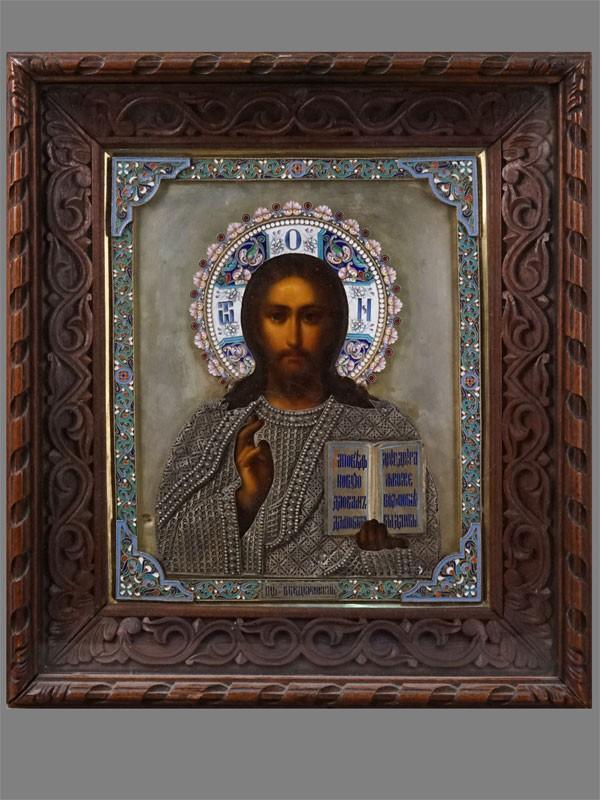 Икона «Господь Вседержитель», дерево, масло; оклад серебро 84пробы, скань, эмаль, 27×22см; киот