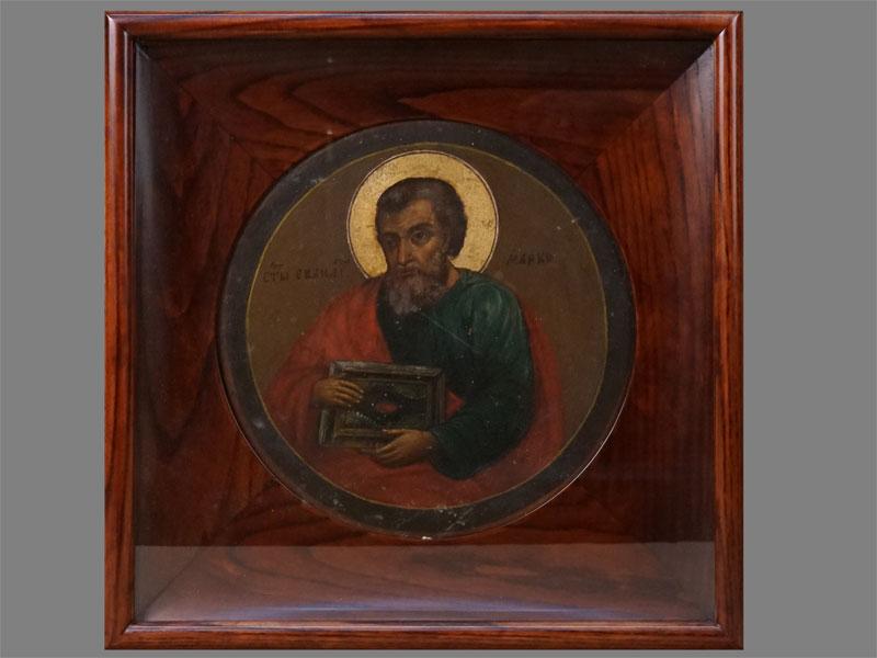 Икона «Святой Апостол Евангелист Марк», дерево, левкас, темпера, конец XIXвека, диаметр— 24см; киот