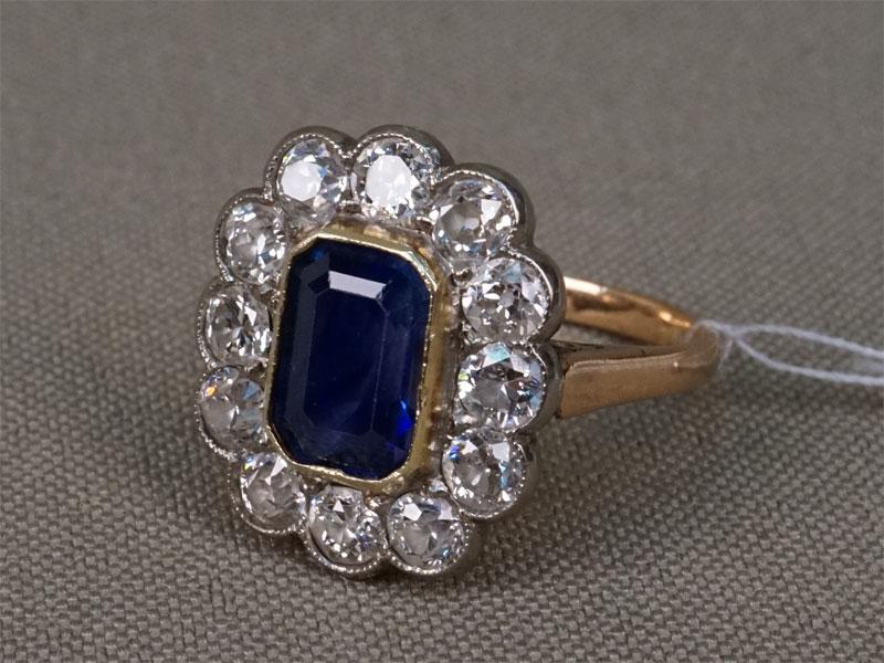 Антиквариат. Кольцо, золото 583 пробы, Вставки: бриллианты сапфир