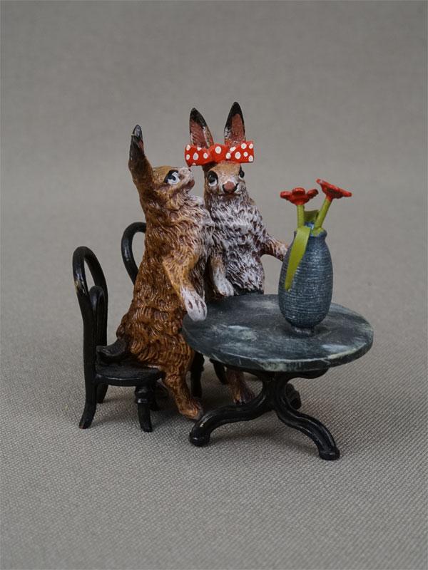 Антиквариат. Влюбленные. кролик, венская бронза. заяц