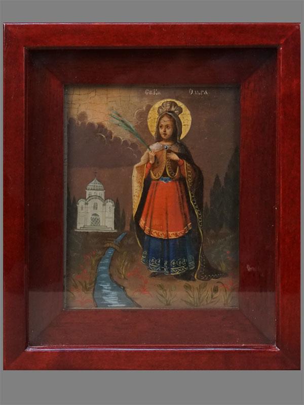 Икона «Святая Равноапостольная княгиня Ольга», дерево, масло, сусальное золото; 17,7 × 13,8 см, XIXвек; киот