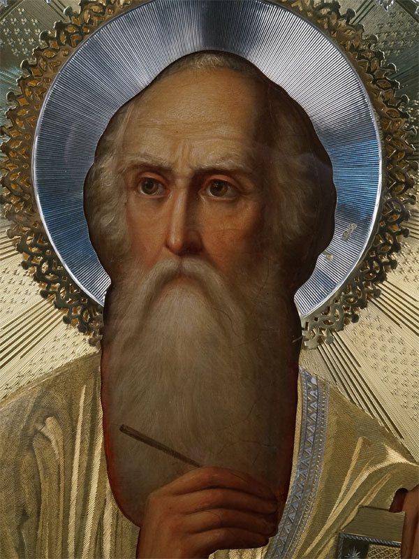 Икона «Святой Евангелист Иоанн Богослов», дерево, масло; оклад серебро 84пробы, золочение, 1879год; киот