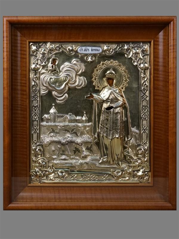 Икона «Святая Мученица Ирина», дерево, левкас, темпера; оклад серебро 84пробы, золочение, эмаль. Москва, 1865год,  31,5×27см; киот