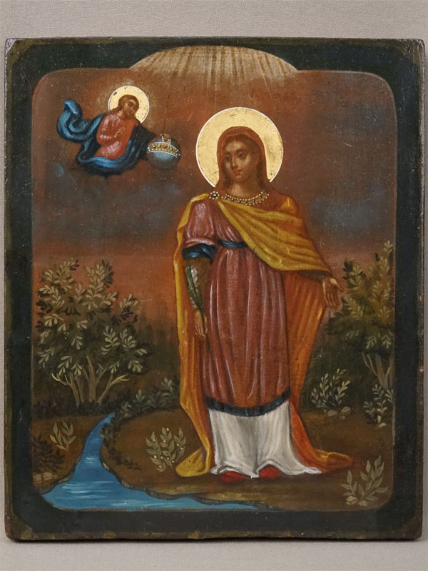 Антиквариат. Икона Святая мученица Клавдия