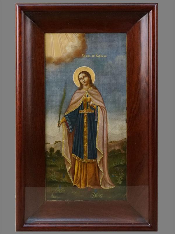Икона «Святая Великомученица Варвара», дерево, масло, сусальное золото, XIXвек, 35×17,2см; киот