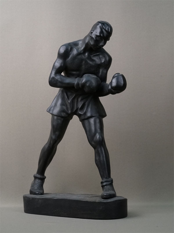 Антиквариат. Боксер, чугун Каслинское литье спорт бокс