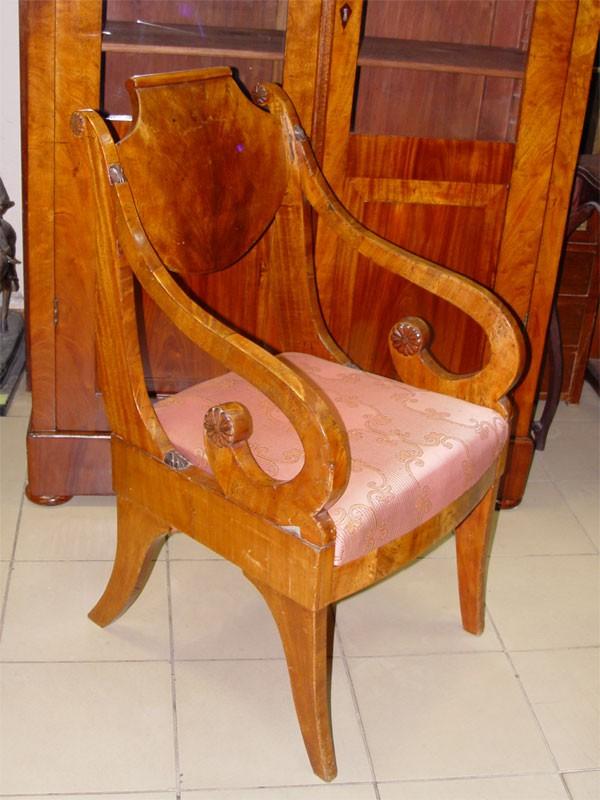 Кресло встиле ампир, красное дерево. Россия, начало XIX века (требуется реставрация)