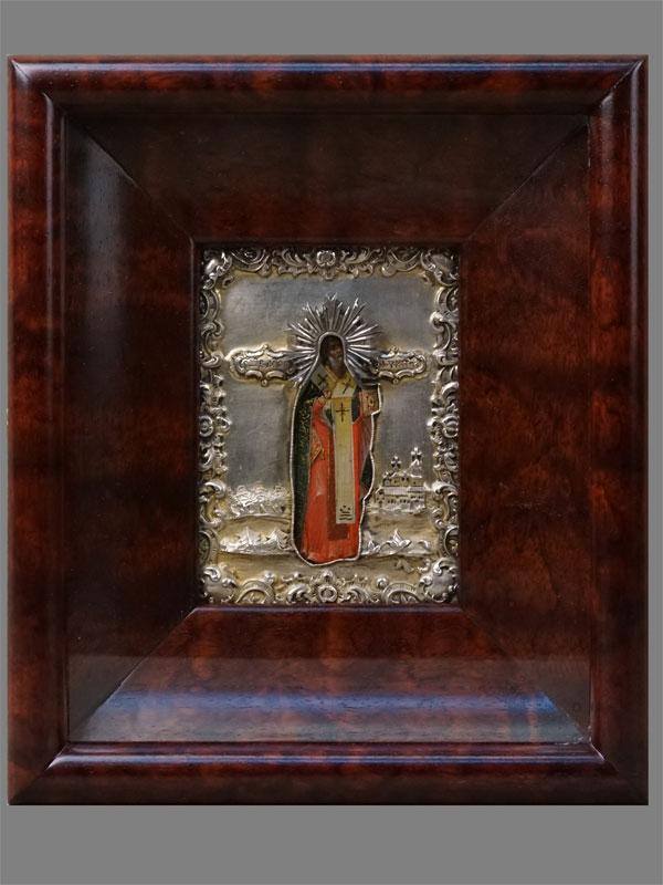 Икона «Святой Мученик Антипий», дерево, левкас, темпера, 11×8,3см. Оклад серебро 84пробы, Санкт-Петербург, 1846год. Киот