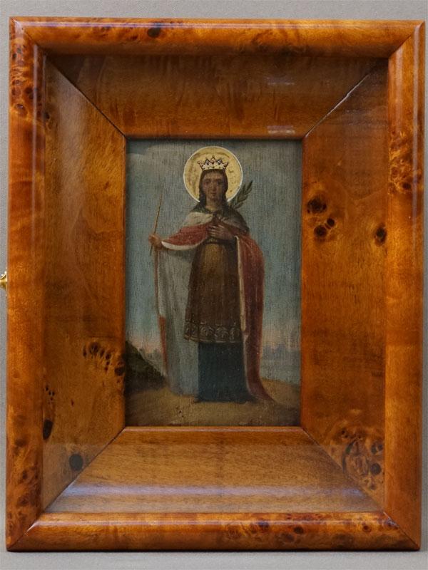 Икона «Святая Царица Александра», дерево, левкас, темпера, сусальное золото, XIXвек, 14,4×9см; киот