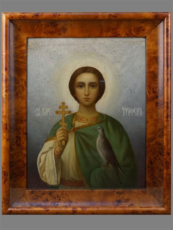 Икона «Святой Великомученик Трифон», металл, масло, 44×35см, XIXвек. Киот современный или старый навыбор.