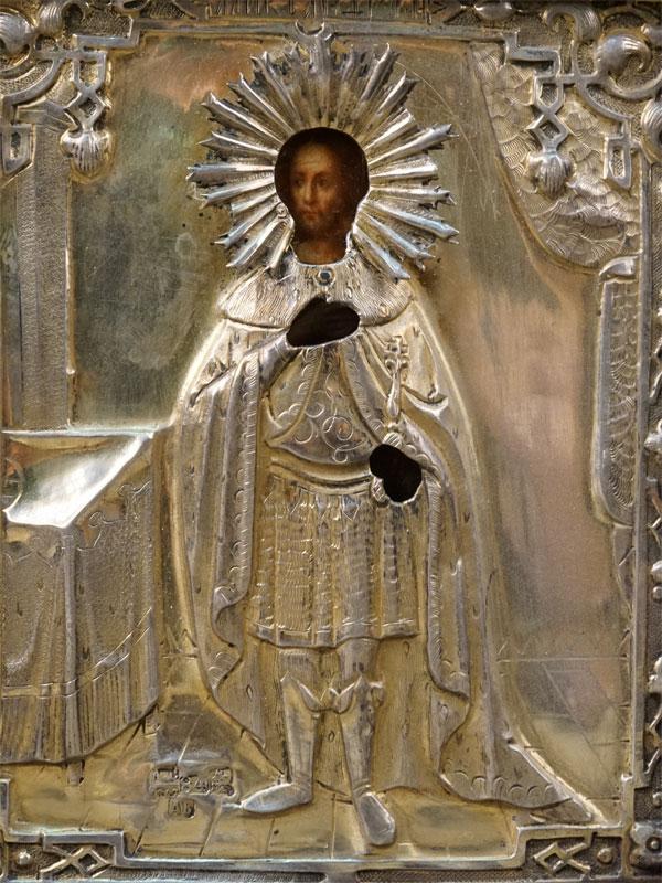 Икона «Святой Александр Невский», дерево, масло, XIXвек, 13×11см; оклад серебро 84пробы;  киот