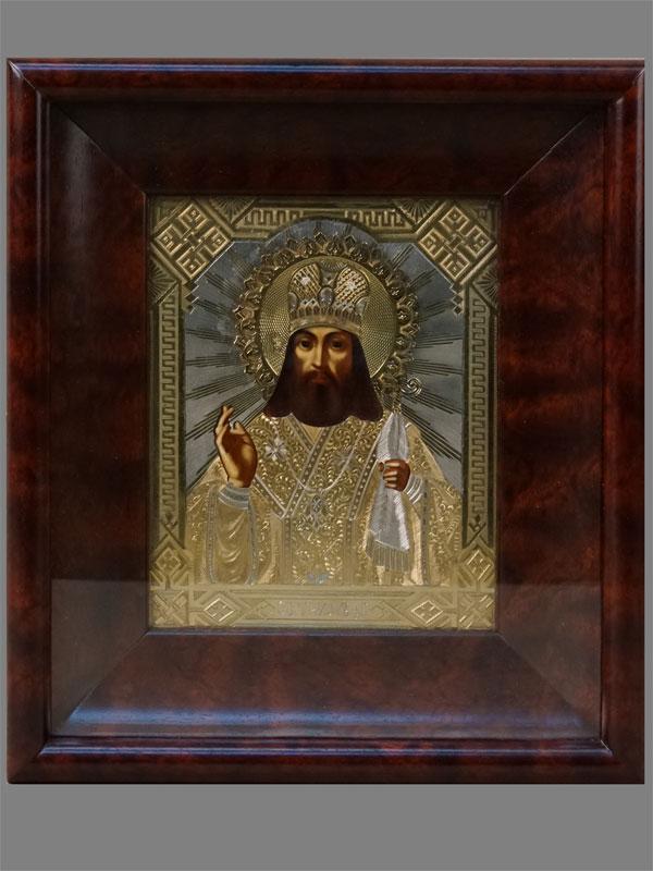 Икона «Святой Тихон Задонский», дерево, масло, XIXвек, 18×14см. Оклад серебро 84пробы, золочение, Москва, 1886год. Киот