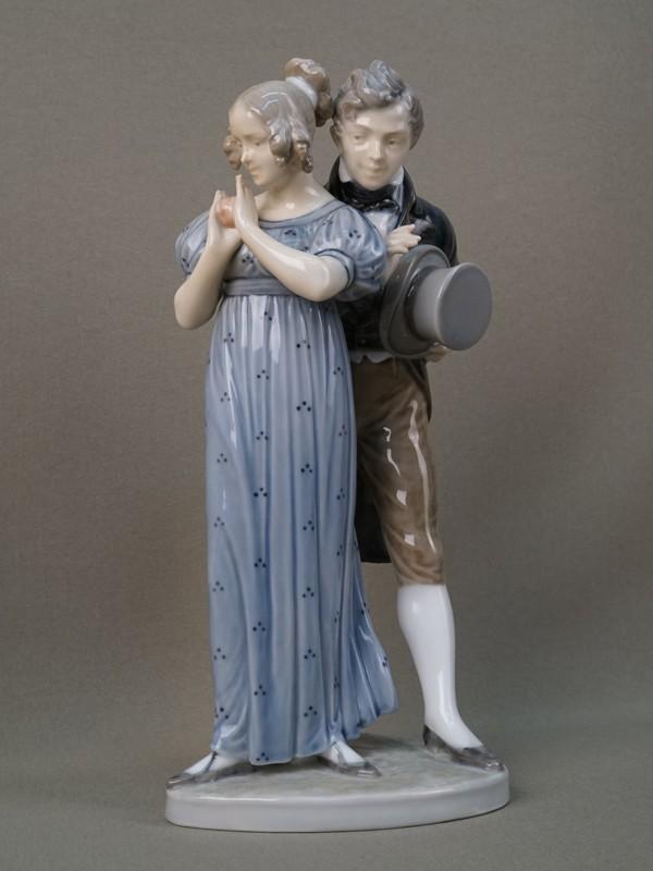 Антиквариат. Кавалер и дама с яблоком. Адам и Ева. Копенгаген
