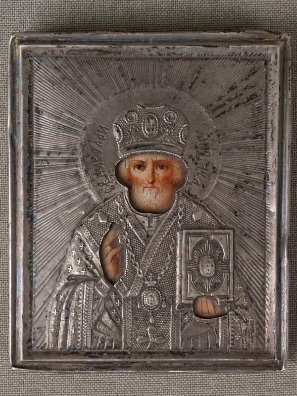 Икона «Святой Николай Чудотворец», оклад серебро 84пробы, 7×5,5см