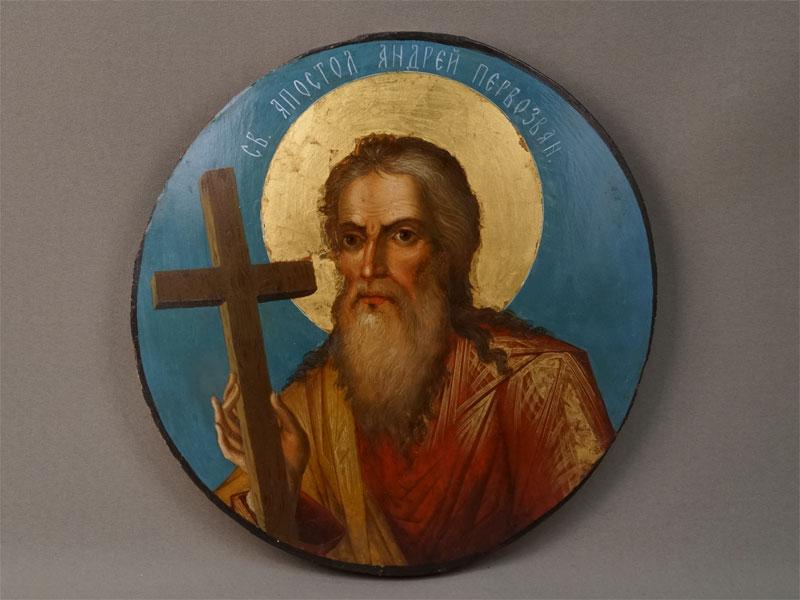 Икона «Святой Апостол Андрей Первозванный», дерево, масло, золочение, XIX век, 26,5 × 26см