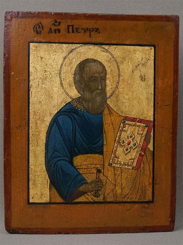Икона «Святой Апостол Петр», дерево, левкас, темпера, золочение, XIX век, 22,3 × 17,3см