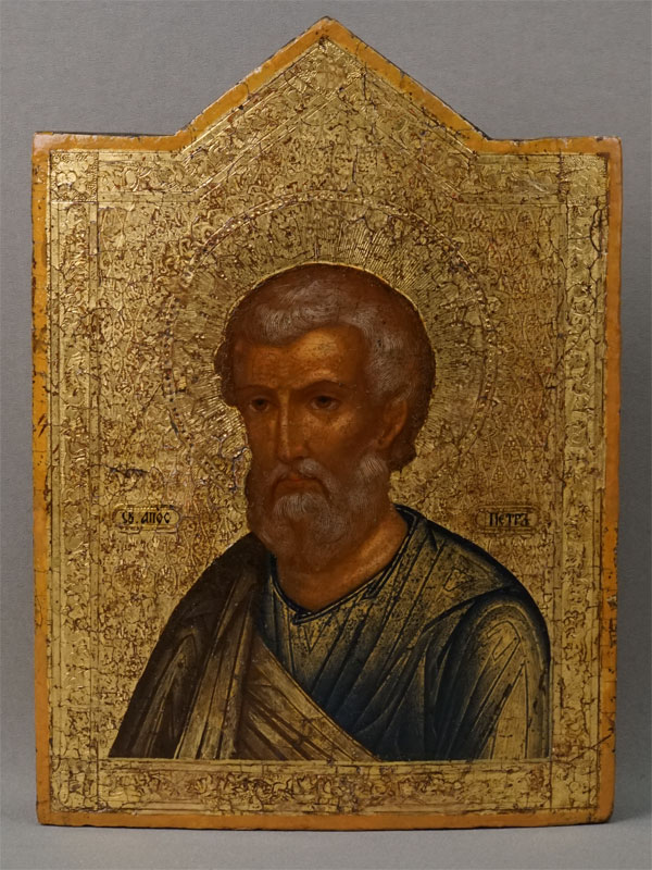 Икона «Святой Апостол Петр», дерево, левкас, темпера, золочение, XIX век, 25,5 × 18,5см; киот