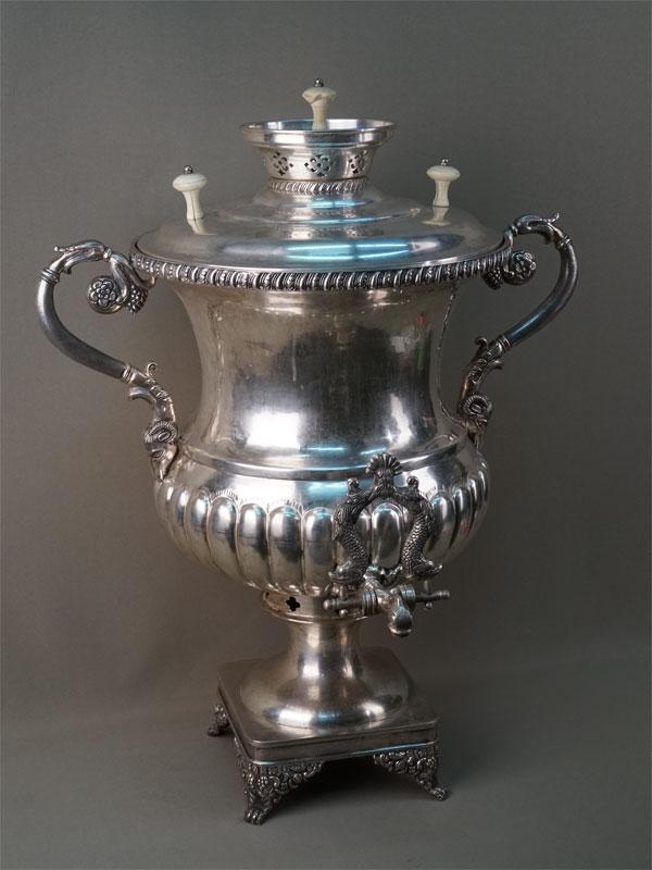Самовар, серебро по реактиву, общий вес 8600г., высота 62см