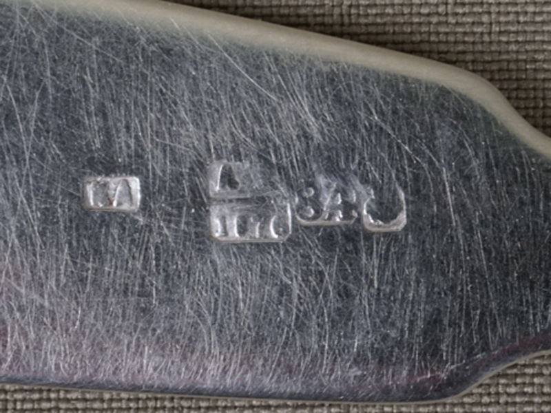 Ложка десертная, серебро 84 пробы, общий вес 36,97г. Москва, 1876 год