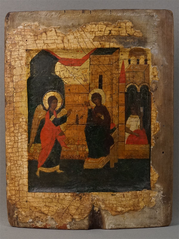 Икона «Благовещение Пресвятой Богородицы», дерево, левкас, темпера, 25,7 × 20,4см, 16 век (?).