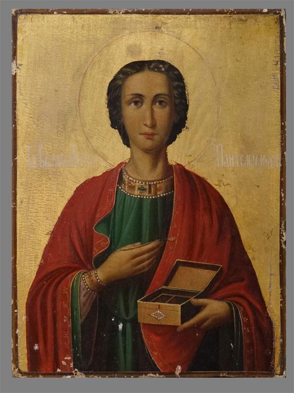 Антиквариат. Икона Святой Пантелеймон, Афон