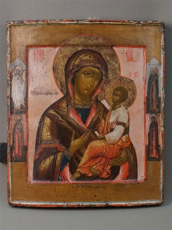 Антиквариат. Икона Пресвятая Богородица Грузинская. Ангел Хранитель Сергий Радонежский, Евдокия и Варвара
