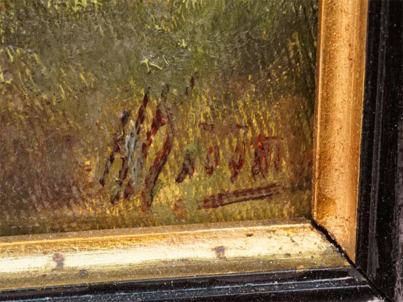 Клодт фон Юргенсбург Николай Александрович (1865-1918), «Летний день. Коровы на берегу речки», холст, масло, конец 1880-х – 1890-е годы, 40,5 × 62,8см. Атрибуция.