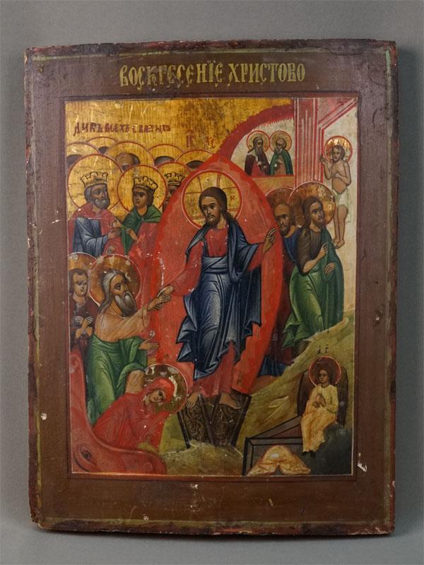 Икона «Воскресение Христово», дерево, левкас, темпера, XIX век, 35 × 26см