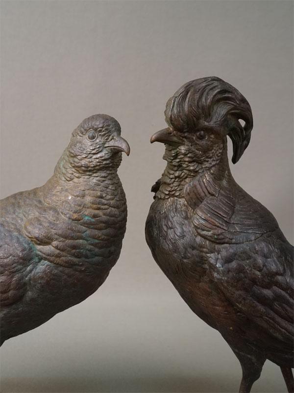 Пара скульптур «Фазаны», венская бронза, длина 48см и 36см, высота 22см и 19,5см