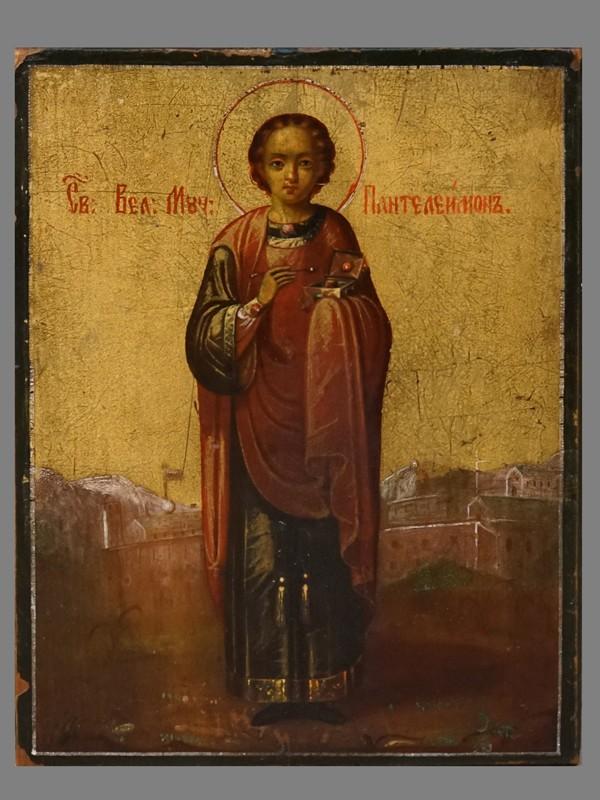 Икона «Святой Великомученик Пантелеймон», дерево, масло, 16,5 × 12,5см. Афон, XIX век