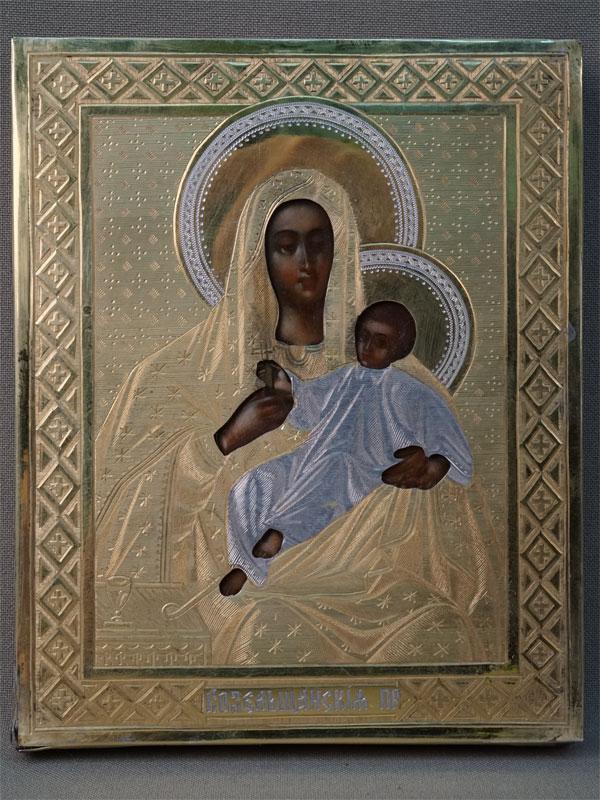 Икона «Пресвятая Богородица Козельщанская», дерево, масло, 13,3 × 10,8см. Оклад серебро 84 пробы, XIX век. Киот