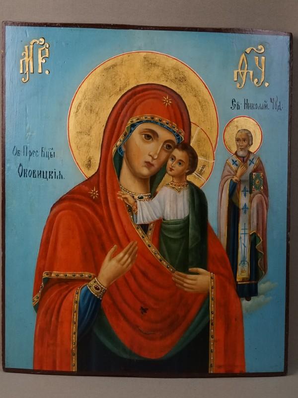 Икона «Пресвятая Богородица Оковецкая (Ржевская)», дерево, масло, золочение, XIX век, 35,8 × 30см