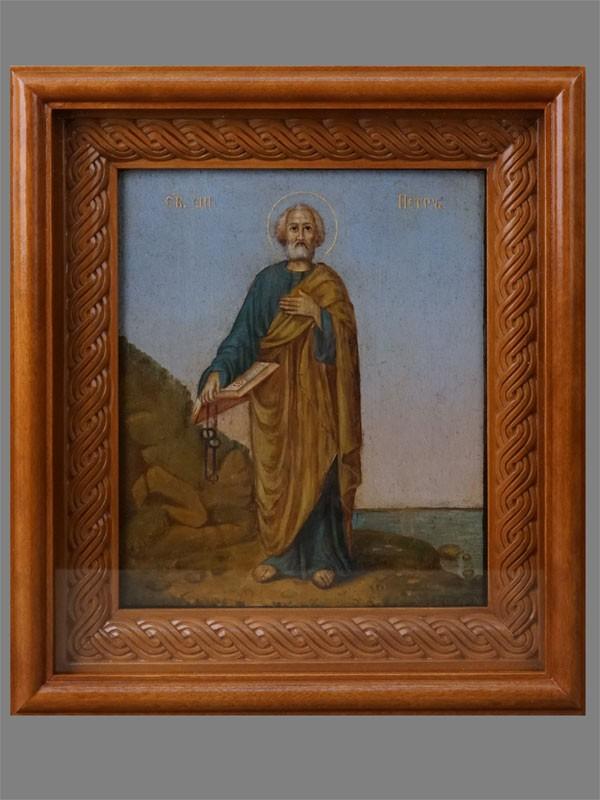 Икона «Святой Апостол Петр», дерево, масло, XIX век, 22,5 × 19см; киот