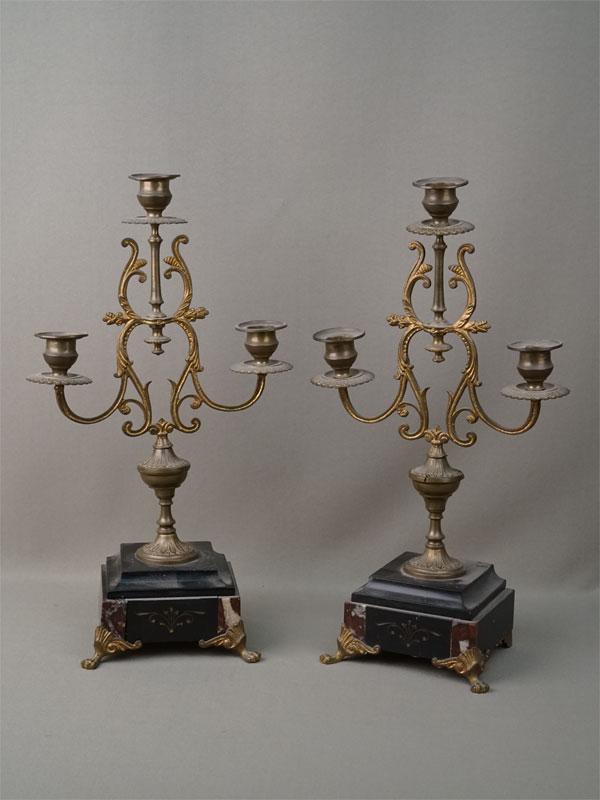 Пара канделябров, бронза, камень, конец XIX – начало XX века, высота 37см (утраты)