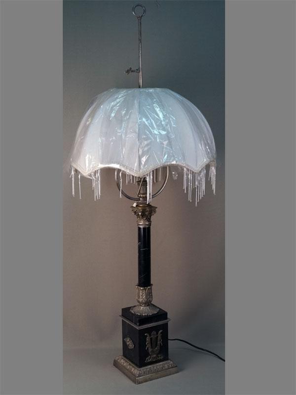 Лампа настольная, мрамор, бронза, серебрение, конец XIX века, высота 110см
