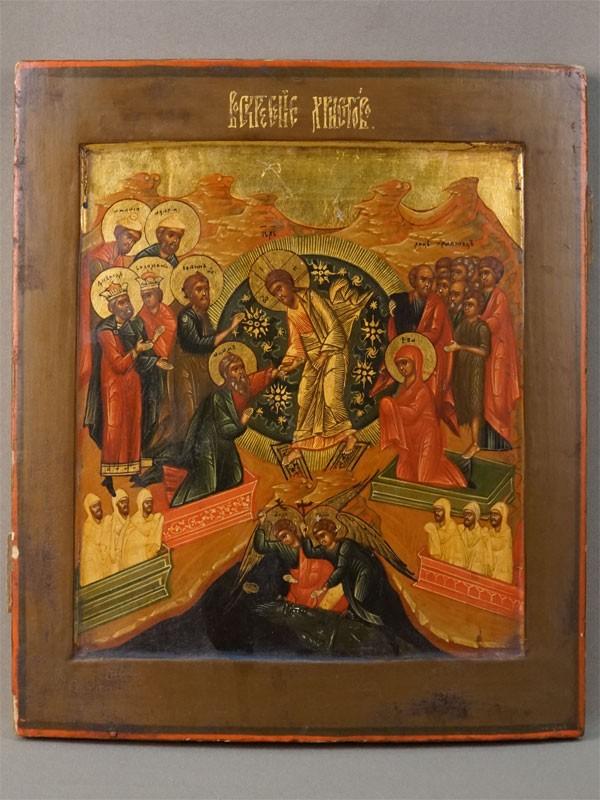 Икона «Воскресение Христово», дерево, левкас, темпера, золочение, XIX век, 31 × 27см