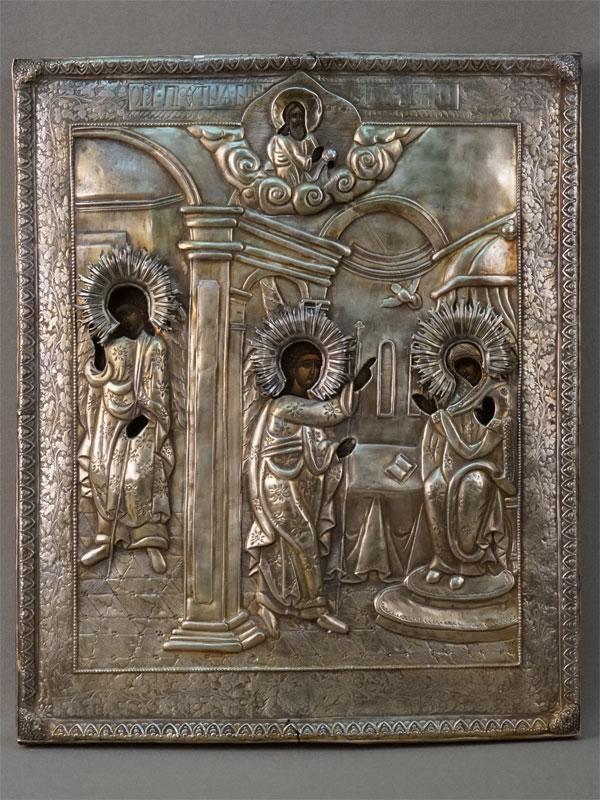 Икона «Благовещение Пресвятой Богородицы», дерево, масло, оклад латунь, серебрение, XIX век, 34 × 28см