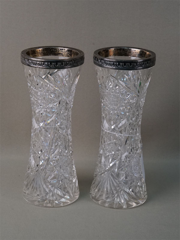 Пара ваз для цветов, хрусталь, серебро 84 пробы, высота— 22,5см