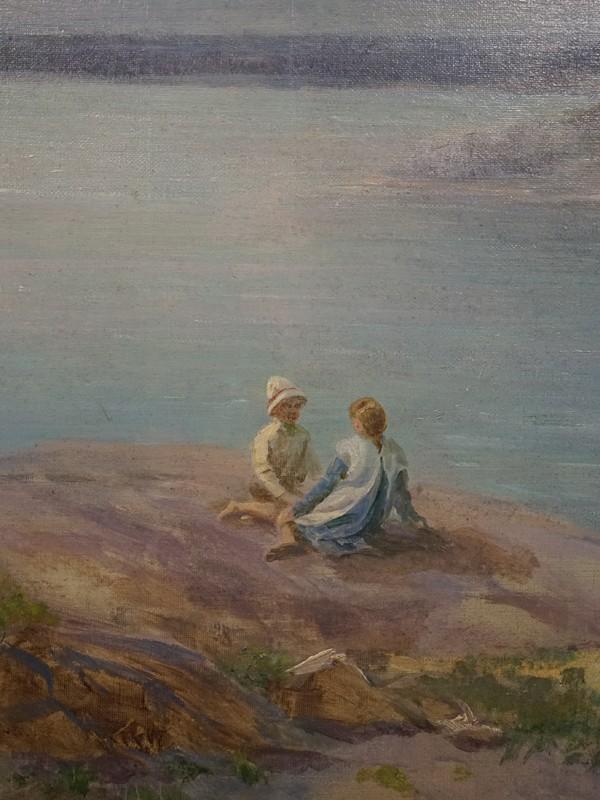 Пасс И.А. (1868 — после1935), «Дети на Волге», холст, масло, 70,7 × 107см, 1916 год. Атрибуция.